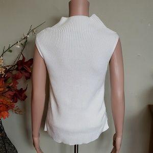 3071da24205573 White House Black Market Tops - WHBM knit tank top turtleneck sweater white